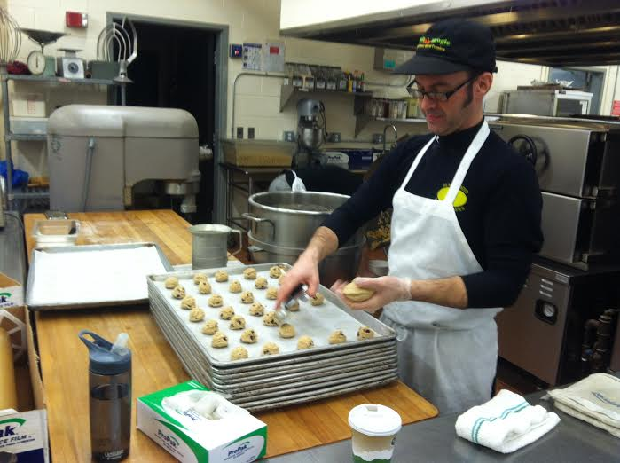 Kevin preparing cookies for lunch